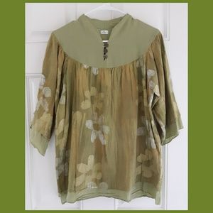If By Wish Layered Gauze Boho Peasant Blouse